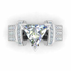Luxury 925 Silver Trillion Cut White Sapphire Ring
